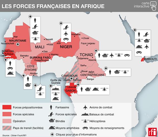carte forces francaises Afrique